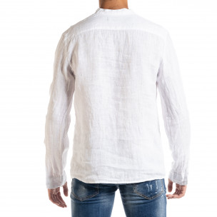 Ленена мъжка риза в бяло рустик стил  2