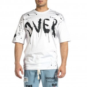 Мъжка бяла тениска с принт Oversize 2