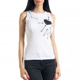 Бяла дамска тениска без ръкави  2