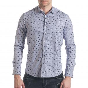 Мъжка синьо-бяла раирана риза с птички