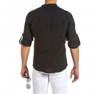 Мъжка черна ленена риза с яка столче 2