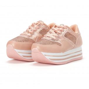Дамски маратонки на платформи с розови пайети 2