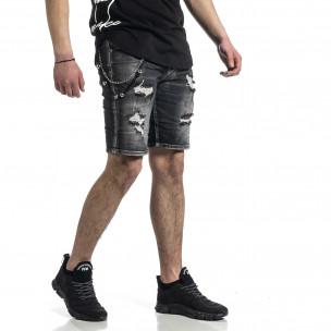 Destroyed черни къси дънки с аксесоар