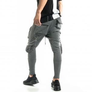 Трикотажен сив панталон Hip Hop Jogger
