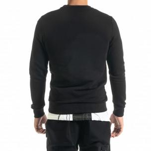 Basic мъжка памучна блуза в черно  2