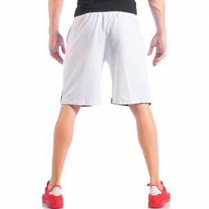 Бели мъжки шорти с ивици и метална звезда  2