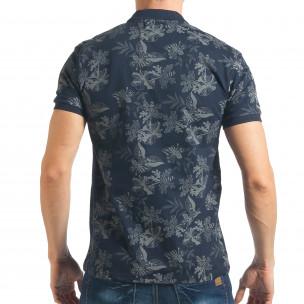 Мъжка синя тениска с флорална щампа  2