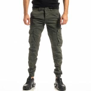 Мъжки зелен карго панталон с ластик на крачолите