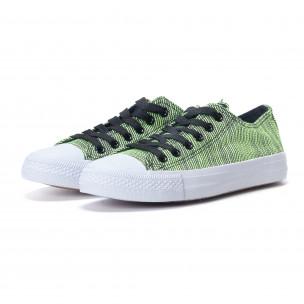 Дамски зелени кецове на фино райе  2