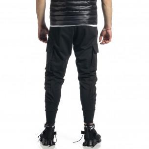 Мъжко черно долнище с обемни джобове 2