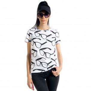 Дамска тениска Glasses в бяло