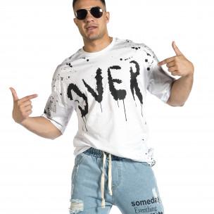 Мъжка бяла тениска с принт Oversize