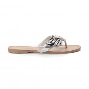 Дамски чехли с метална сребриста декорация