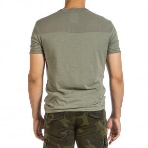 Текстурирана зелена тениска с връзка 2
