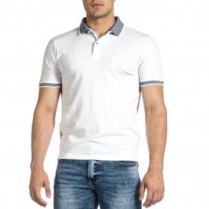 Мъжка бяла тениска с яка меланж