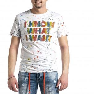 Мъжка бяла тениска с принт и кристали