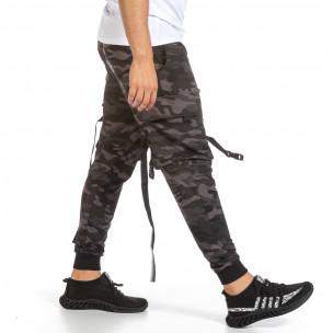 Мъжко Hip Hop долнище сиво-черен камуфлаж