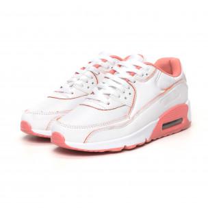 Дамски маратонки с въздушна камера бяло и розово 2