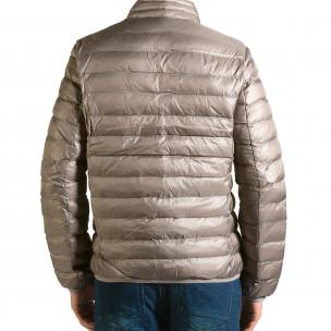 Мъжко бежово-сиво яке със синя подплата 2