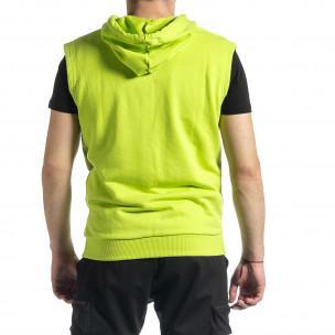 Мъжки суичър-елек неоново зелено 2