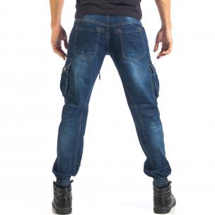 Мъжки дънки с джобове на крачолите и връзки  2