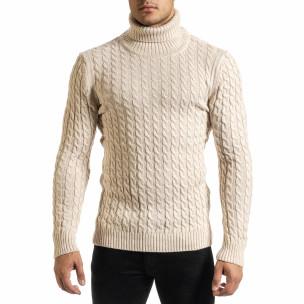 Мъжки бежов пуловер с поло яка и плетеници