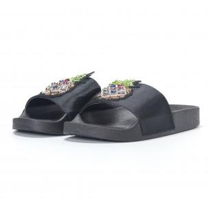 Черни дамски чехли с ананас 2