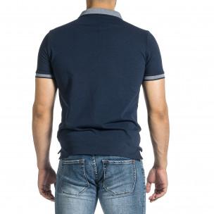 Мъжка тъмносиня тениска с яка меланж  2