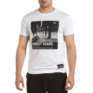 Мъжка бяла тениска Sweet Years