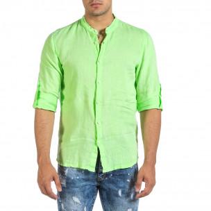 Мъжка ленена риза зелен неон