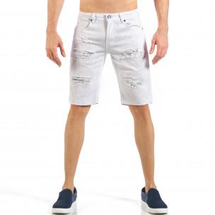 Мъжки бели къси дънки с кръпки с принт