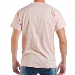 Розова мъжка тениска с релефен папагал  2