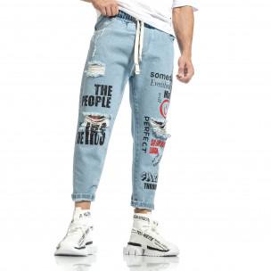 Relaxed fit мъжки сини дънки с принт  2