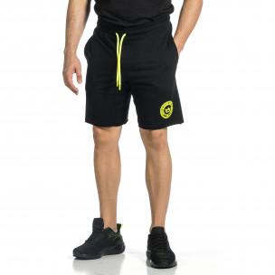 Трикотажни мъжки черни шорти с лого
