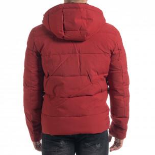 Червена мъжка пухенка с качулка  2