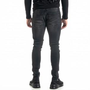 Мъжки черни дънки с леки прокъсвания  2