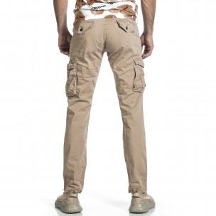 Мъжки бежов панталон с прави крачоли & Big Size  2