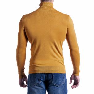 Фино мъжко поло цвят камел  2