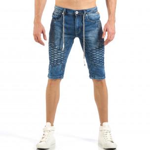 Мъжки къси Biker дънки в синьо
