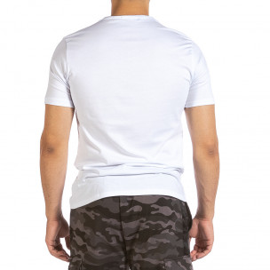 Мъжка бяла тениска с графичен принт  2