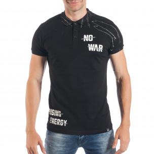 Черна мъжка тениска пике с изцапан ефект