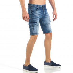 Мъжки къси карго дънки с кадифен ефект в синьо  2