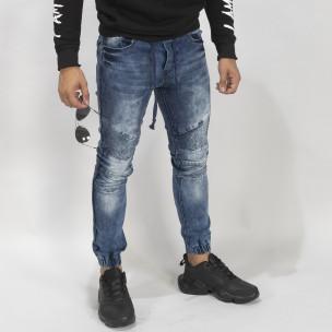 Мъжки сини рокерски дънки Jogger  2