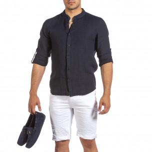 Мъжка тъмносиня ленена риза с яка столче