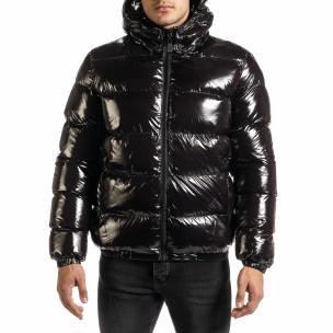 Мъжко пухено яке бомбър в черно