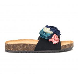 Черни дамски чехли с флорален дизайн