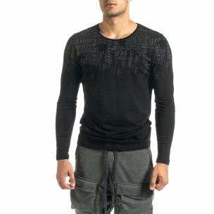 Мъжка черна блуза с надписи