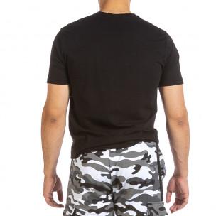 Мъжка черна тениска с графичен принт  2