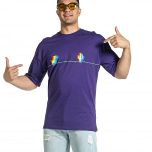 Мъжка лилава тениска Dinosaur Oversize