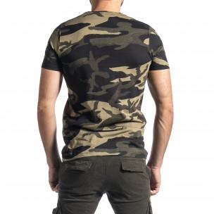 Мъжка тениска зелен камуфлаж с принт  2